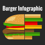Hamburger flat infographic chart. Over dark background Royalty Free Stock Image