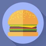 Hamburger flat vector icon. Hamburger flat style vector icon. Sesame bun, salad. tomato, cheese and meat Stock Image