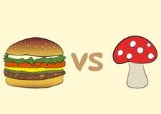 Hamburger and fly agaric Royalty Free Stock Photo
