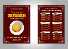 Hamburger flyer design vector template in A4 size or A5. Brochure and Layout Design. food concept. Vector royalty free illustration