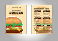 Hamburger flyer design vector template in A4 size or A5. Brochure and Layout Design. food concept. Vector stock illustration