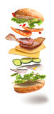 Hamburger with flying ingredients Stock Image