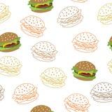 Hamburger food seamless pattern yellow red brown illustration. Vector Stock Photo