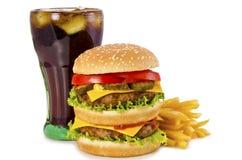 Hamburger, francuzów dłoniaki i kola, zdjęcie stock