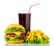 Hamburger, francuzów dłoniaki i napój, obrazy stock