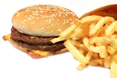 Hamburger with french fries. A view of an hamburger with french fries Royalty Free Stock Images