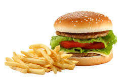 Hamburger and french fries stock photo