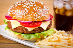 Hamburger and French fries Royalty Free Stock Image