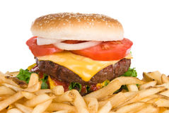 Hamburger and french fries Stock Image