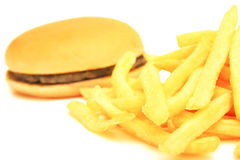 Hamburger and french fries. Stock Photos