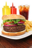 Hamburger, French Fries And Cola Fast Food Meal Stock Photos