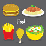 Hamburger French Fries Chicken Spaghetti tomato Salad Food cartoon vector Royalty Free Stock Photos