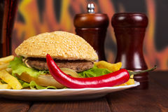 Hamburger, french fries, chili and spices on  background  flames. Hamburger, french fries, chili and spices on a background of flames Stock Photo