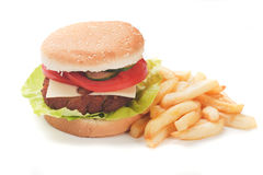 Hamburger with french fries Royalty Free Stock Photo