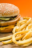 Hamburger and French Fries Closeup Royalty Free Stock Photography