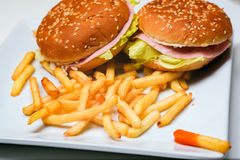 Hamburger and french fries. Closeup of hamburger, french fries and ketchup on a white plate Royalty Free Stock Photo