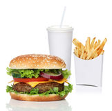 Hamburger with french fries and a cola drink. Isolated on white Stock Photo