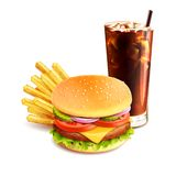 Hamburger French Fries And Cola. Realistic fast food icon isolated on white background vector illustration Stock Images