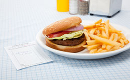 Hamburger and french fries diner set-up Royalty Free Stock Photography