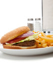 Hamburger and french fries diner set-up Stock Photos