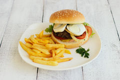 Hamburger, french fries, fast food Stock Photo