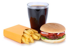 Hamburger and french fries menu meal combo cola drink fast food Royalty Free Stock Photo