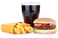 Hamburger and french fries menu meal combo cola drink isolated Royalty Free Stock Photos