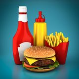 Hamburger, french fries, mustard and ketchup Royalty Free Stock Photography