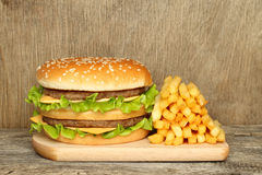 Hamburger and french fries royalty free stock photos