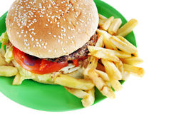 Hamburger with French fries in the plate Royalty Free Stock Photo