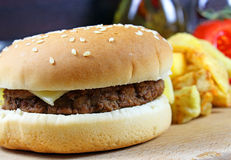Hamburger with French Fries Stock Photography