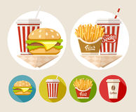 Hamburger, french fries and soda drink in paper cup Stock Photo