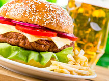 Hamburger and French fries Royalty Free Stock Images