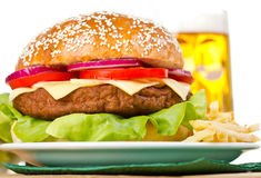 Hamburger and French fries Royalty Free Stock Image