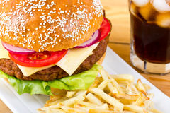 Hamburger and French fries Stock Images