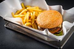 Hamburger and french fries Stock Photo