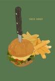 Hamburger with french fries. Vector cheese burger illustration. Menu foe fast food restaurant Stock Image