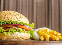 Hamburger and french fries Royalty Free Stock Photography