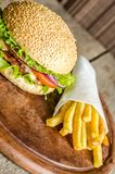 Hamburger and french fries Royalty Free Stock Photo