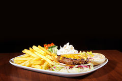Hamburger with french menu Royalty Free Stock Image