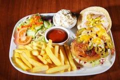 Hamburger with french menu Royalty Free Stock Photography