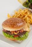 Hamburger fresco com batatas fritas e salada Foto de Stock Royalty Free