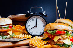 Hamburger with fresh vegetables for breakfast meal.  Stock Photo