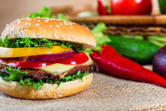 Hamburger with fresh vegetables Royalty Free Stock Photo