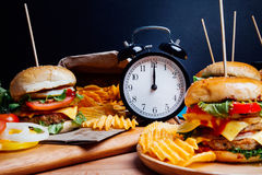 Hamburger with fresh vegetables for lunch meal.  Stock Image