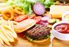Hamburger with fresh vegetables Stock Image