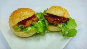 Hamburger Fried Chicken Stock Afbeelding
