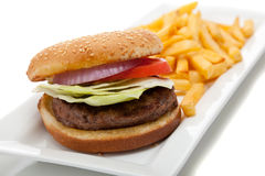 Hamburger and fries Stock Photo
