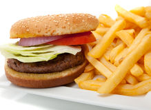 Hamburger and fries Royalty Free Stock Photography