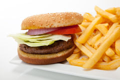 Hamburger and fries Stock Photos